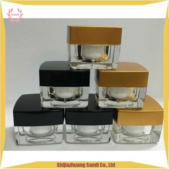 Cosmetic Containers Empty Black Square Acrylic Plastic Cream Jar