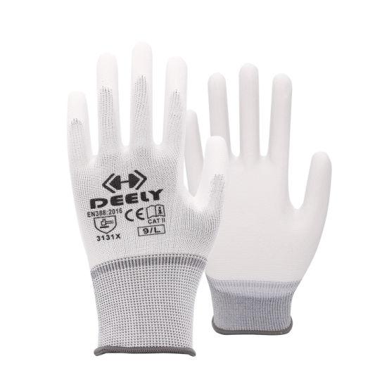 13 Gauge White Polyester White PU Coated Glove