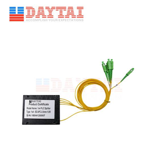 1X4 PLC Splitter with Fiber Optic Sc/APC FC/APC Connector