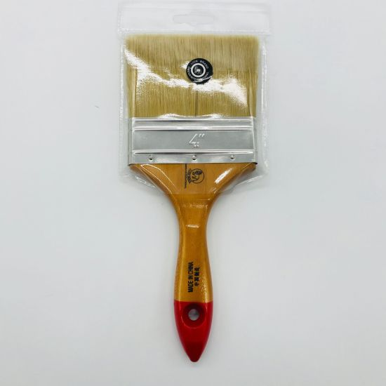 Natural Pure Bristle Flat Style Paint/Painting Brush with Wooden Handle