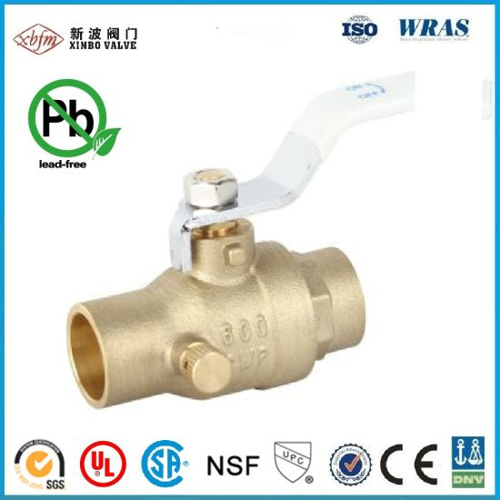 OEM/ODM Factory 600cwp Lead Free Brass Ball Valve with Drain C Xc