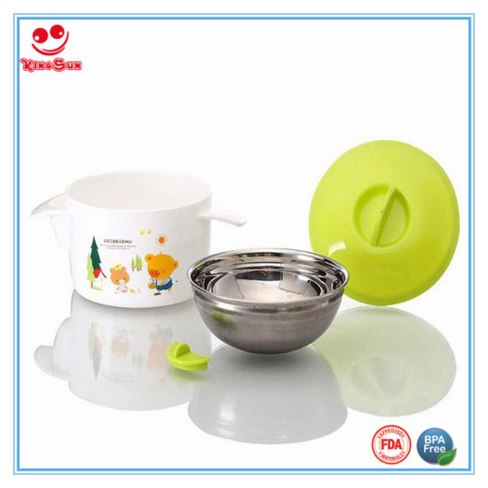 Stainless Steel Plastic Water Injection Thermos Bowl for Baby pictures & photos