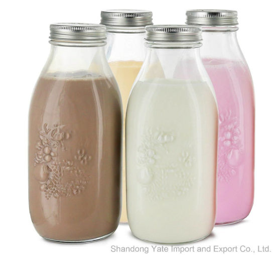 Reusable Glass Milk Bottles with Metal Lids pictures & photos