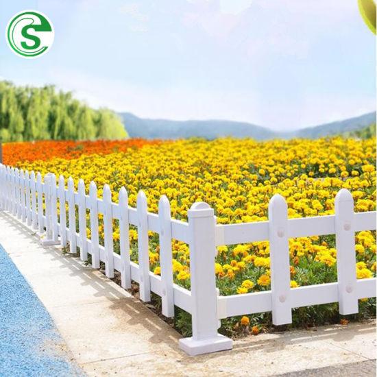 Home Garden White Vinyl Picket PVC Rail Fence for Land