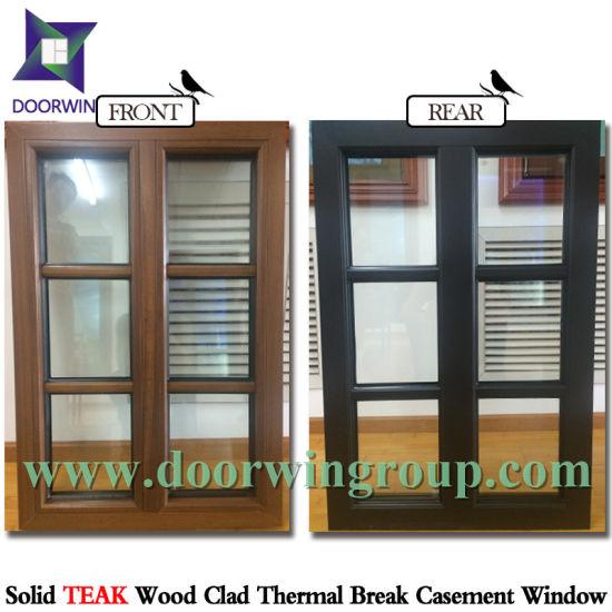 China Seamless Aluminum Corner Inward Opening Window Wood