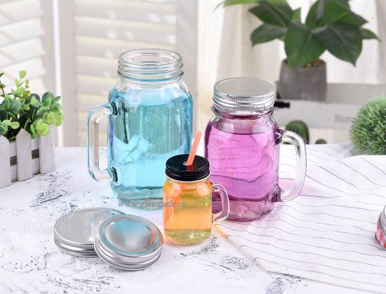 Glass Mason Jars Drinking Mason Jar with Handle and Straws