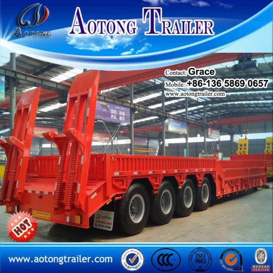 Heavy Duty Low Bed Trailer 80 Ton and Widely Used 4 Axle Extendable Low Bed Trailer pictures & photos