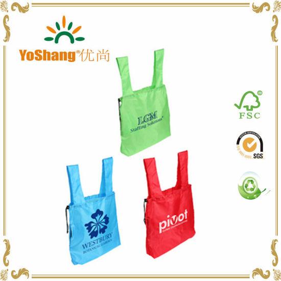 2016 Wholesale Nylon Reusable Fashion Tote Cartoon Drawstring Folding Shopping Bag