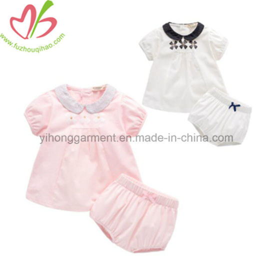 43084966c China Peter Pan Collar Blouse +Short Pants Baby Girl Clothing Sets ...