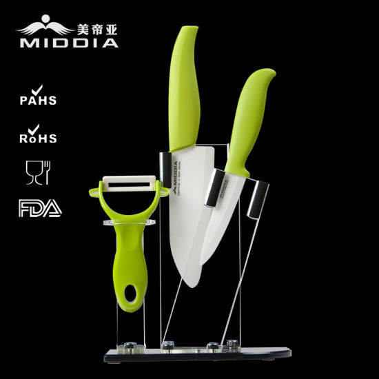 Kitchen Tools Ceramic Knife Set with Holder & Nonslip Handle pictures & photos