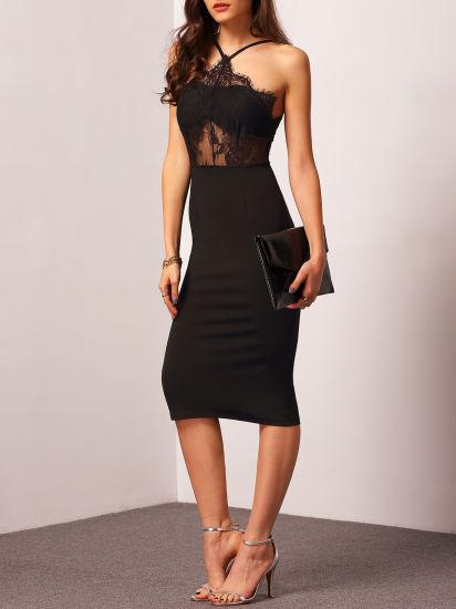 2017 Quality Designs Halter Contrast Sexy Black Lace Sheath Dresses