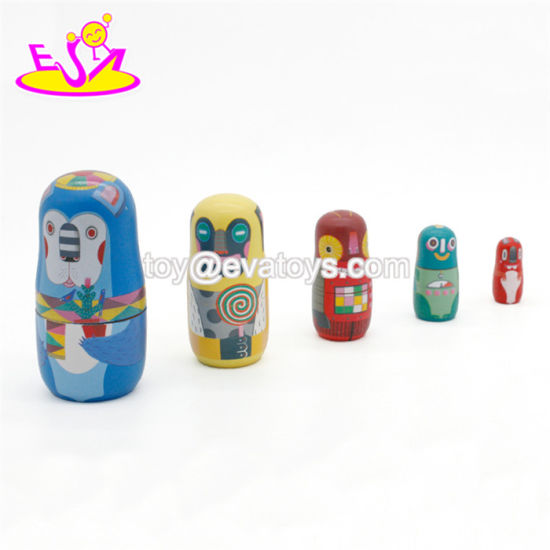 Handmade Cartoon Wooden Russian Nesting Doll Set for Children W06D111 pictures & photos
