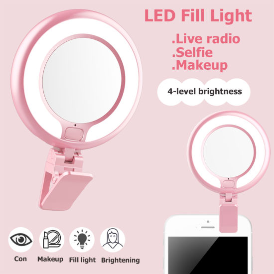 China Universal Circle Beauty Selfie Ring Led Light Clip Fill Light