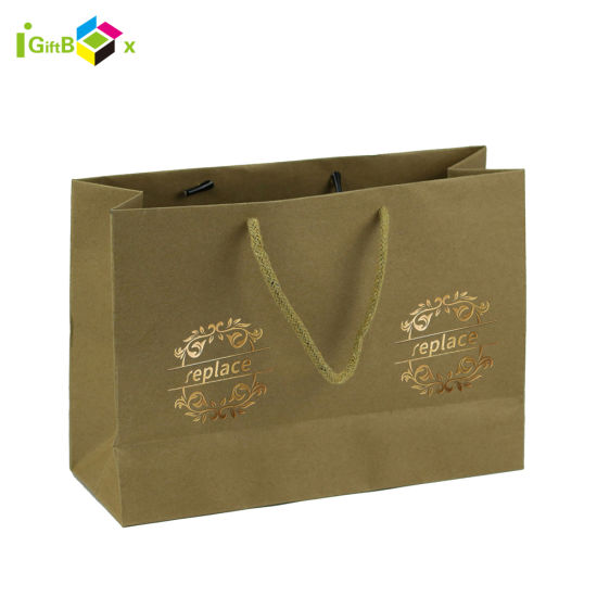 Brown Kraft Paper Bag with Handle for Cloth Wholesale Packing