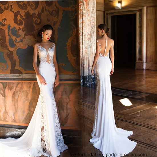China Champagne Lace Bridal Gowns Mermaid Sleeveless Wedding Gown ...
