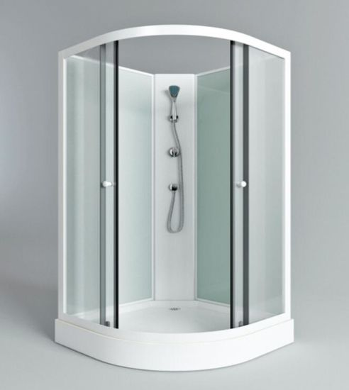 Bathroom Aluminium Frame Corner Shower Enclosed With A Round Sliding Door