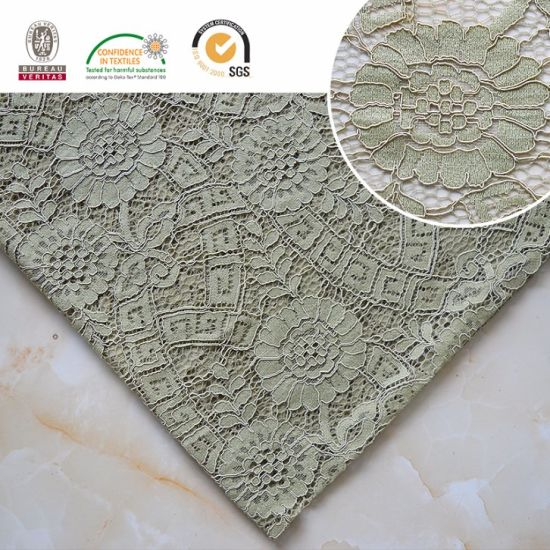 f16a15e4bead Sunflower Pattern Embroidery Lace Fabric, Green Garment Materials Beautiful  Design Ln10034