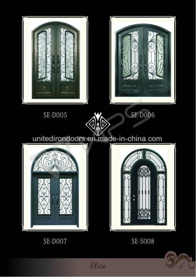 Security and Decorative Wrought Iron Double Door (UID-D067) pictures & photos