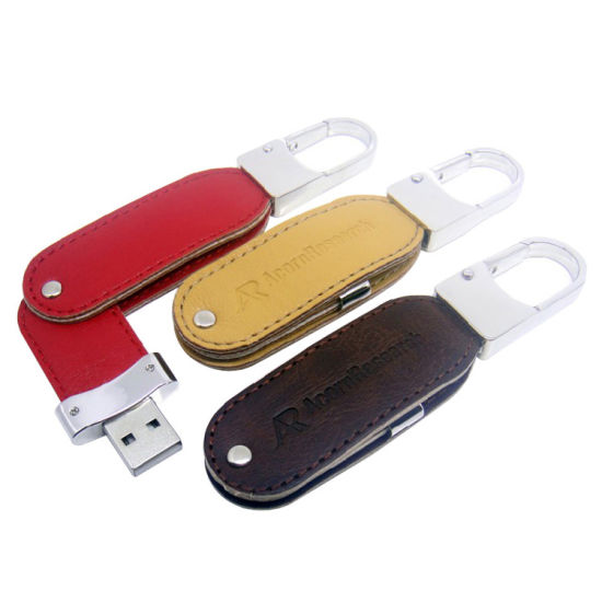 Wholesale Leather USB Flash Drive with Keychain Memory Sticks