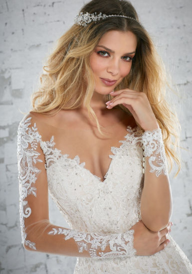 China Lace Bridal Gowns Long Sleeves Lace Mermaid Beach Wedding