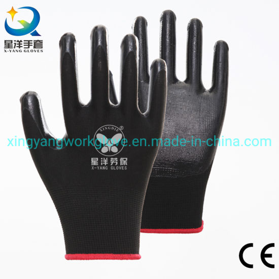 13G Polyester Liner with Black Nitrile Safety Work Gloves with Ce Certificated