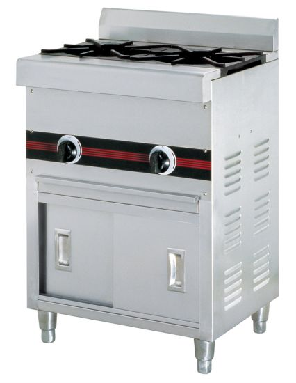 Commercial 2 Burners Gas Stove Cooker with Cabinet Kitchenware