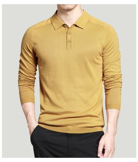 Custom Mens Polo Sweaters Simple Style Cotton Knitted Long Sleeve Big Size 3XL 4XL Spring Autumn Shirts