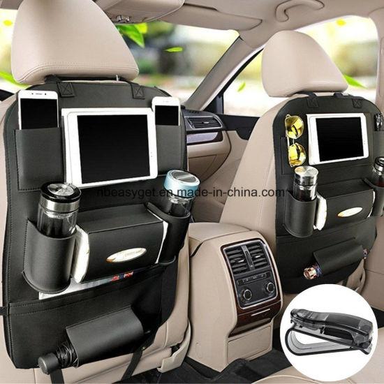 China PU Leather Car Seat Back Organizer And IPad Mini Holder