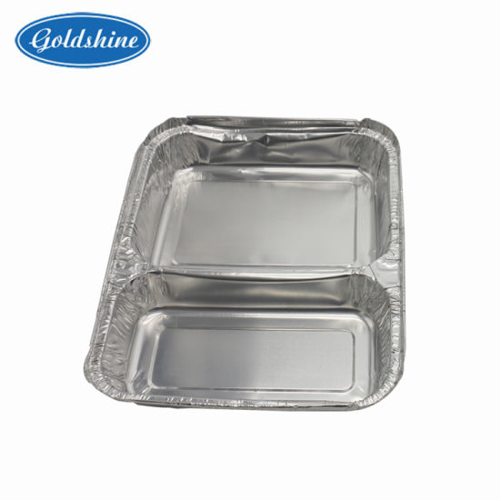 Convinent Compartment Aluminum Lunch Foil Container with Two Zone pictures & photos