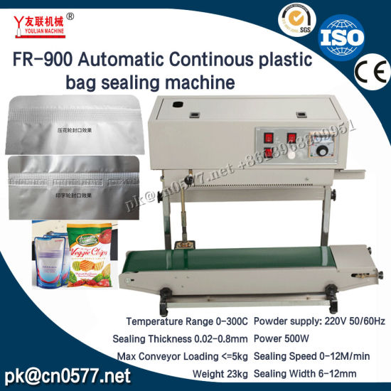 Fr-900automatic Continous Plastic Bag Sealing Machine Vertical Type