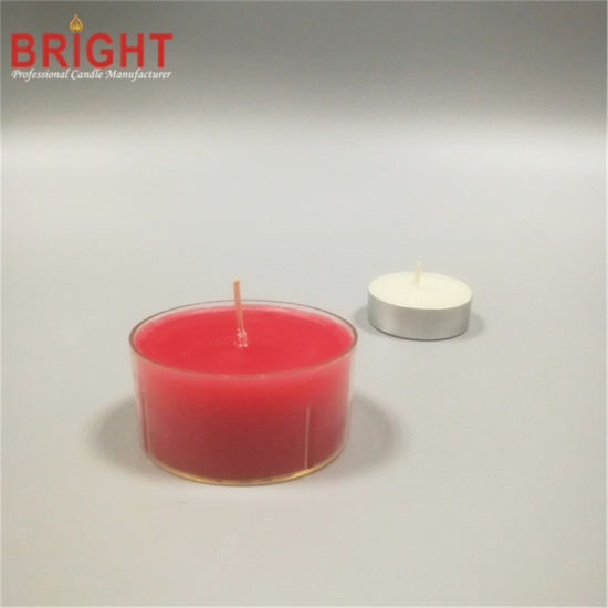 Big Clear Plastic Red 8h Tealight Candle for Valentine's Day