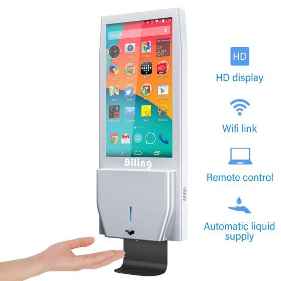 High Quality 21.5inch Kiosk Automatic Hand Sanitizer Dispenser Digital Signage