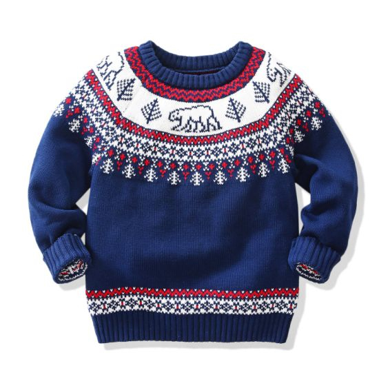 Baby Chiledren's Sweater Winter Bear Pattern Pillover Knitwear