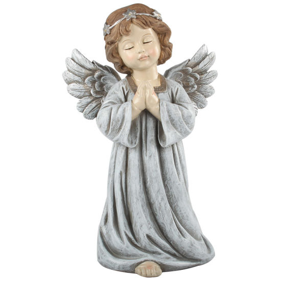 Custom House Decorative Tabletop White Small Resin Pray Cherub Angel Statue with LED Ring