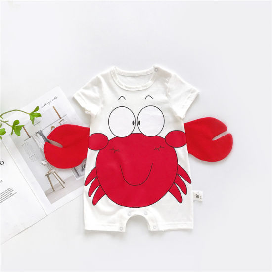 Baby Jumpsuit Short Sleeve Cartoon Crab Print Romper Baby Clothes