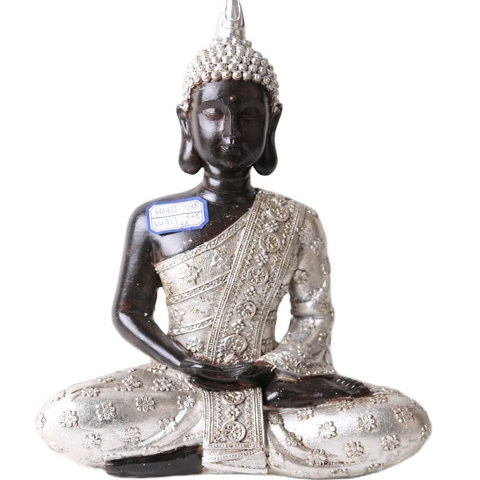 2020 Wholesale Tabletop White Peaceful Sitting Buddhist Sitting Resin Thai Buddha Statue