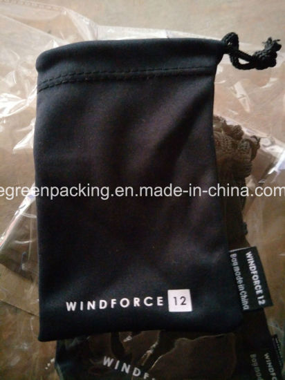 Drawstring Microfiber Pouch with Custom Label pictures & photos