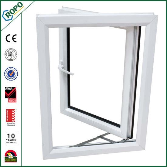 Customized White PVC Double Glazing Hinge Window Open Outside