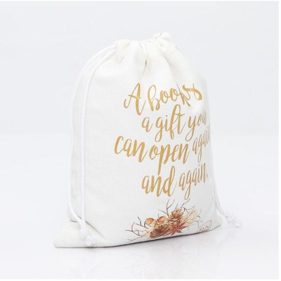 Promotional Canvas Gift Packing Pouch Plain Blank Small Natural Color  Cotton Line Muslin Drawstring Bag
