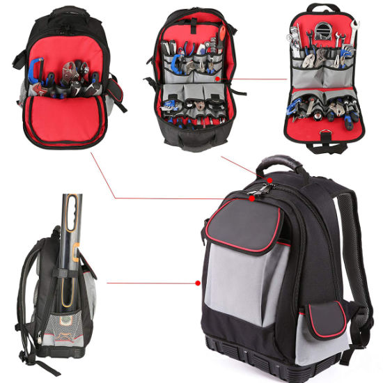 57-Pocket Tool Backpack Bag with An Independent Tool Wall