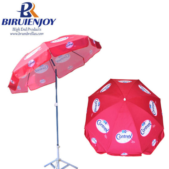 200cm*8K Strong Quality Outdoor Sun Umbrella Parasol with Contrex Logo for Promotion