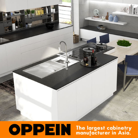 Oppein Modern White Gray Matte Lacquer Wooden Kitchen Cabinet (OP16-L18) pictures & photos