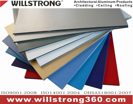 Willstrong 4mm PVDF Aluminum Composite Panel for Exterior Building Facade pictures & photos
