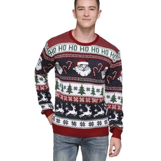 Fancy Men's Pullover Animal Print Santa Unisex Ugly Christmas Sweater