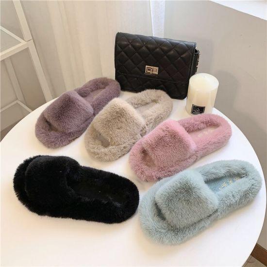 Custom OEM Private Label Wholesale Women Lady Female Luxury Fashion Fancy House Home Indoor Bedroom Vegan Fox Plush Fluffy Furry Fuzzy Faux Fur Slide Slippers