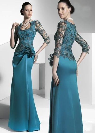 3/4 Long Sleeve Evening Dress Floor Length Prom Dress W1471934