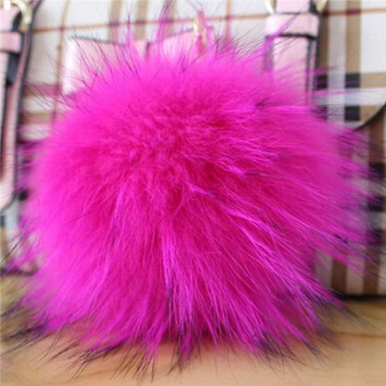 Raccoon Fur POM Poms with Hat Key Chain pictures & photos