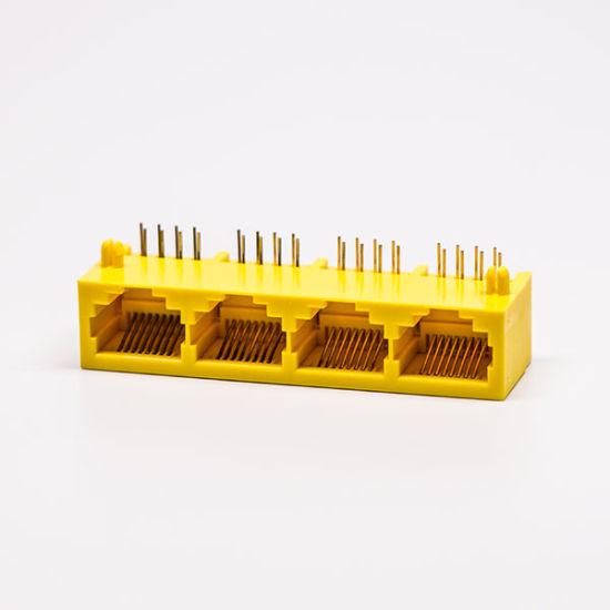 Yellow Color 1*4 8p8c RJ45 Data Jack Modular Connectors for Ethernet
