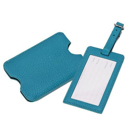 Light Blue Non Button PU Leather Luggage Labels pictures & photos