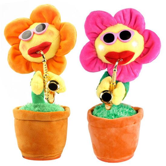 China Singing Dancing Saxophone Sunflower Soft Plush Potted Funny